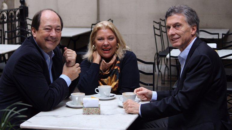 Sanz, Macri y Carrió se mostraron juntos a una semana de las PASO