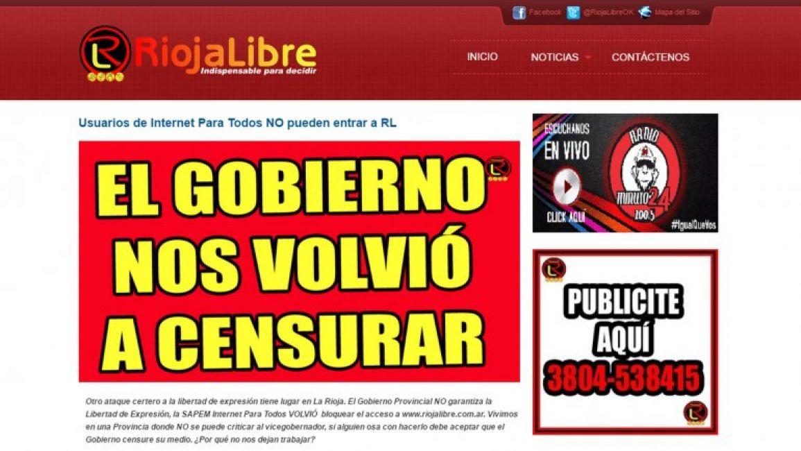 Denuncian que el gobierno de la rioja censur a dos for Paginas de espectaculos argentina